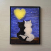 "Wool Painting ""Cats Beneath a Lover's Moon"" - Frame 1"