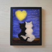 "Wool Painting ""Cats Beneath a Lover's Moon"" - Frame 2"