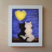 "Wool Painting ""Cats Beneath a Lover's Moon"" - Frame 3"