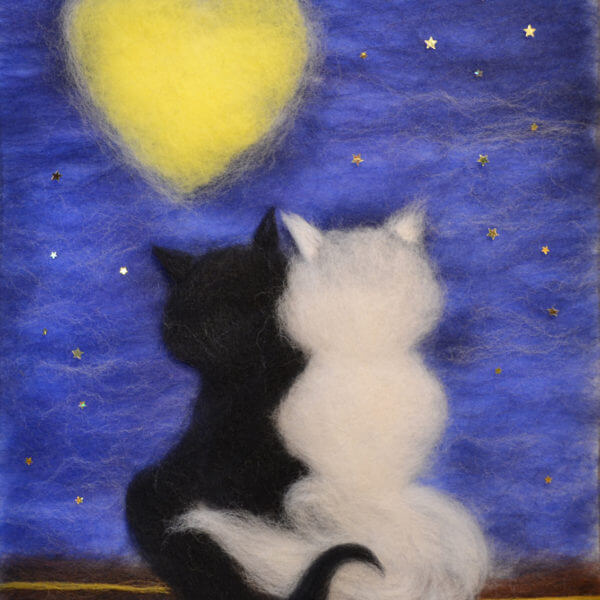 "Wool Painting ""Cats Beneath a Lover's Moon"""