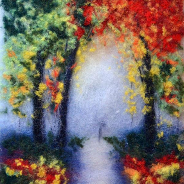 "Forest landscape painting ""Autumn Mood"" by Oksana Ball"