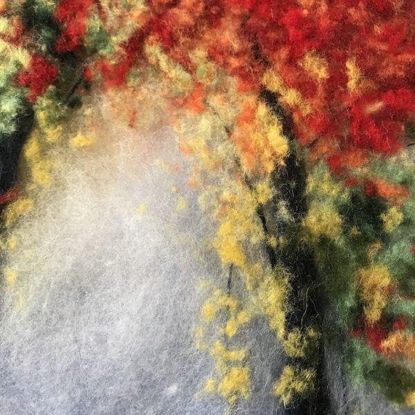 "Fragment of the wool painting ""Autumn Mood"" autumn park"