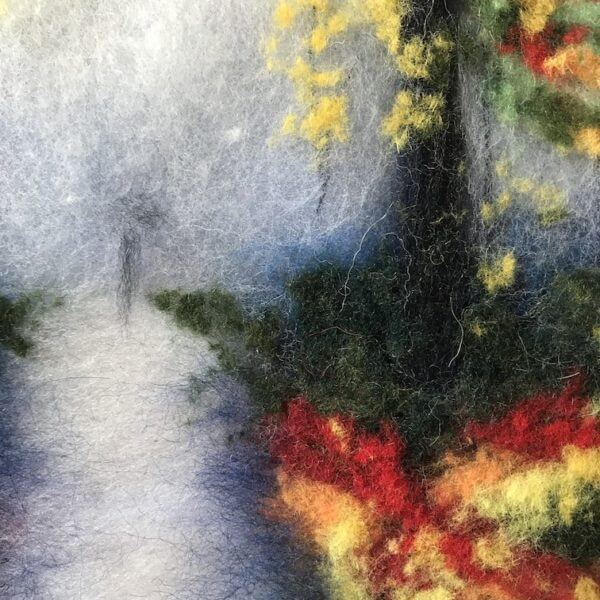 """Fragment of the wool painting """"Autumn Mood"""" path in the autumn park"""