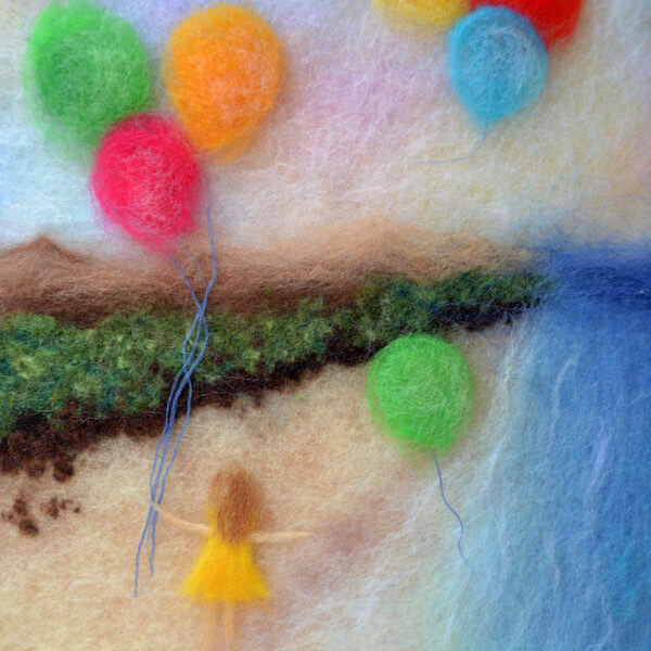"""Fragment of the wool painting """"Colorful Dreams"""" girl on the beach with balloons"""