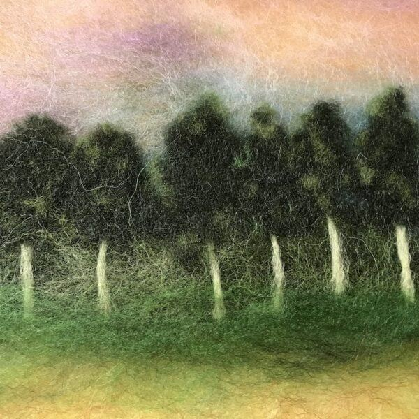 """Fragment of the wool painting """"Motherland"""" forest"""