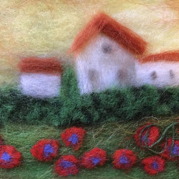 """Fragment of the wool painting """"Motherland"""": poppies, houses"""