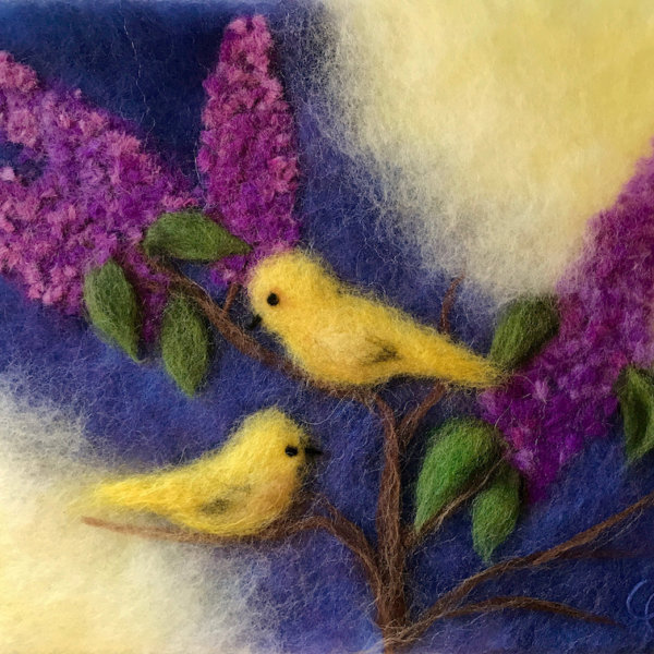 """Wool Painting """"Birds on Branches of Lilacs"""" by Oksana Ball"""