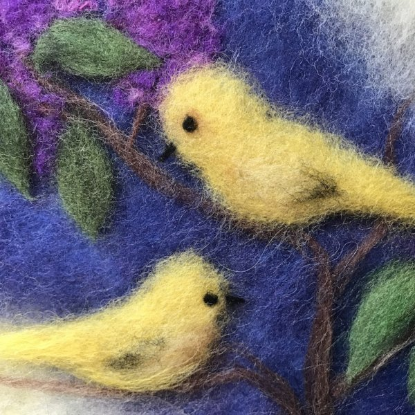 """Fragment of the wool Painting """"Birds on Branches of Lilacs"""", two yellow canary birds"""