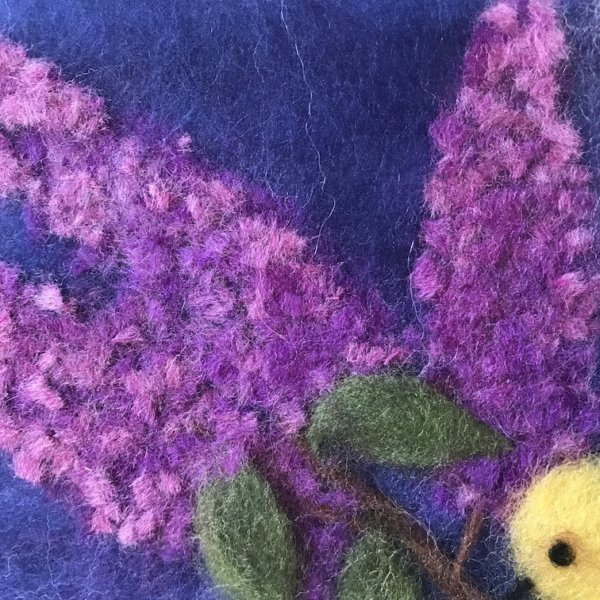 """Fragment of the wool Painting """"Birds on Branches of Lilacs"""", branch of lilacs"""