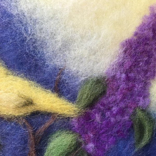 "Fragment of the wool painting ""Birds on Branches of Lilacs"", lilac flower and yellow bird"