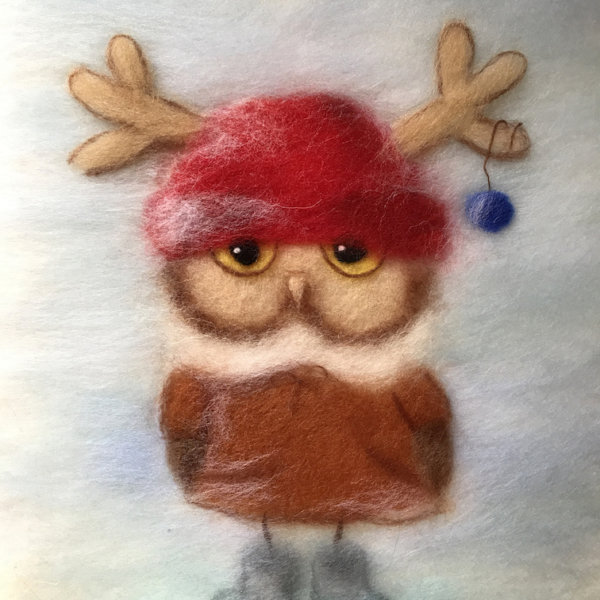 """Wool Painting """"Boy Owl Dressed for Christmas"""" by Oksana Ball"""