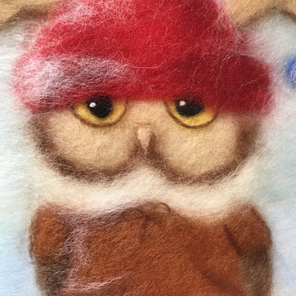 """Fragment of the wool painting """"Boy Owl Dressed for Christmas"""", owl painting for nursery"""