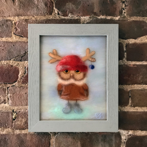 """Wool Painting """"Boy Owl Dressed for Christmas"""" by Oksana Ball, unique Christmas gift"""