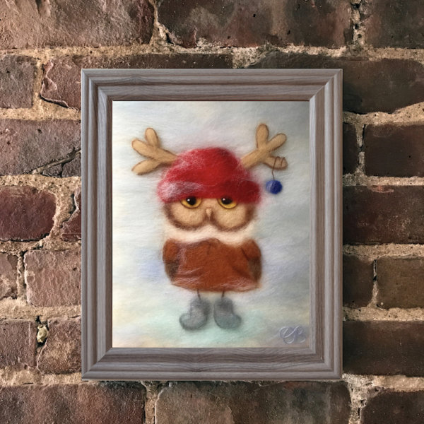 """Wool Painting """"Boy Owl Dressed for Christmas"""" in grey frame"""