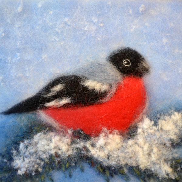 "Wool Painting ""Bullfinch on a Fir Branch"" by Oksana Ball"