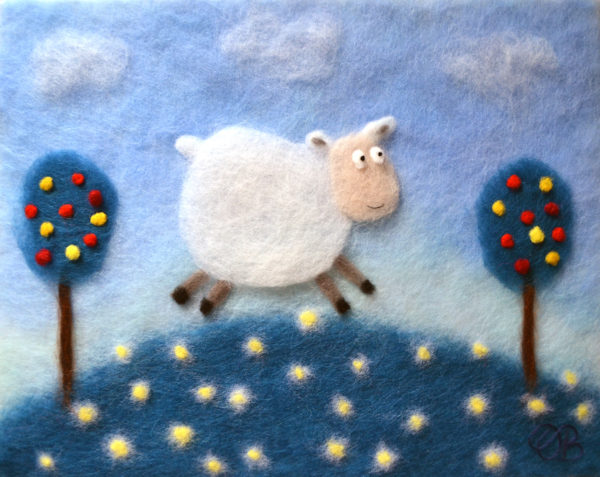 "Wool Painting ""Sheep In The Meadow"" by Oksana Ball"