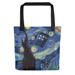 Reusable Grocery Shopping Tote Bag Fabric Foldable - Starry Night Tardis Doctor Who
