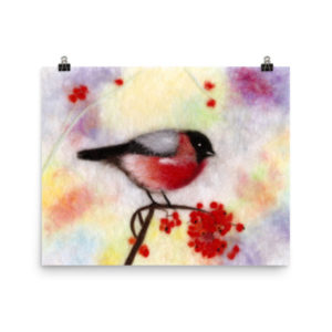 "Bird Print Wall Art Decor ""Colorful Bullfinch"" Unique Gift For Bird Lovers"