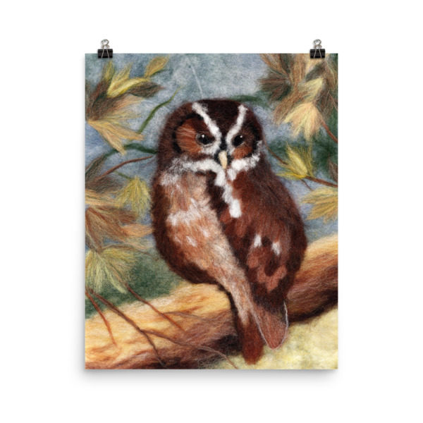 "Bird Print Wall Art Decor ""Owl In The Autumn Forest"" Unique Gift For Bird Lovers"