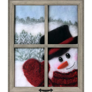 "Wool Painting ""Snowman Looking In Window"" by Oksana Ball"