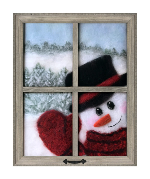 """Wool Painting """"Snowman Looking In Window"""" by Oksana Ball"""