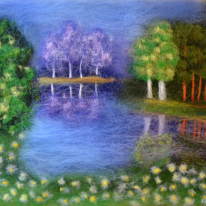 Painting with wool summer landscape painting by Oksana Ball
