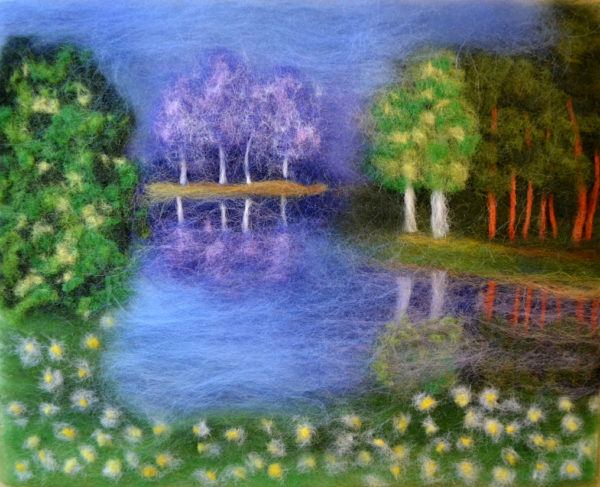 "Wool Painting ""Enchanted Lake"" by Oksana Ball"
