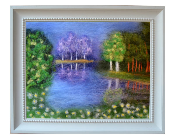 Summer landscape painting original wool art by Oksana Ball