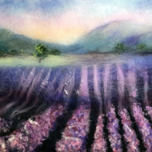 Painting with wool, summer landscape painting, lavender field, original wool art by Oksana Ball