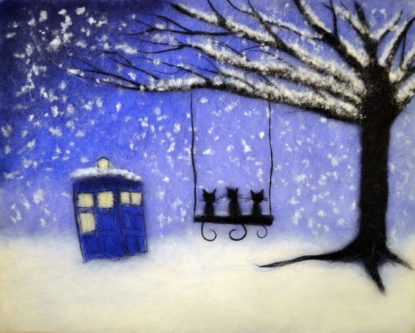 "Wool Painting ""Cats and Tardis"" by Oksana Ball"