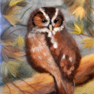 Wool painting owl in the autumn forest by Oksana Ball