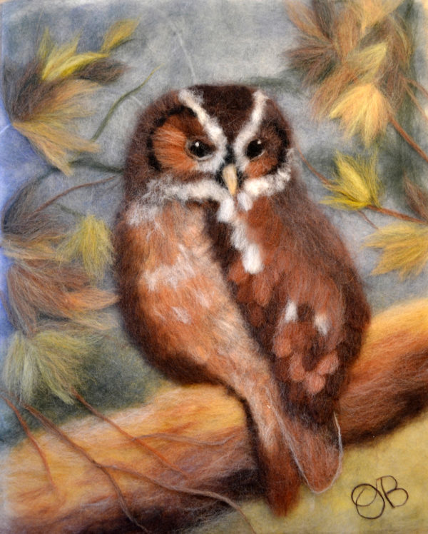 Original wool painting Owl in the autumn forest by Oksana Ball, Bird painting, Wildlife painting with wool, Fiber wall art decor