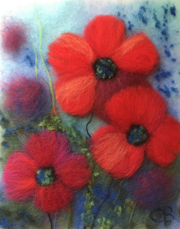 "Wool Painting ""Poppies In Blue"" by Oksana Ball"