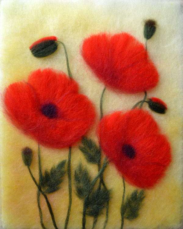 Wool painting red poppies by Oksana Ball