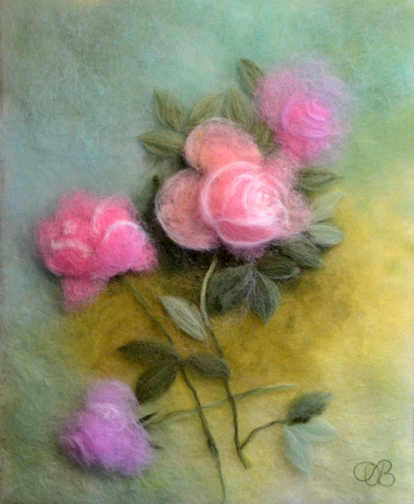 Pink roses on green background original wool painting by Oksana Ball