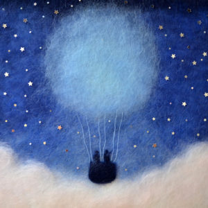 "Wool Painting ""Hot Air Balloon Flight Among The Stars"" by Oksana Ball"