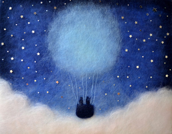 "Wool Painting ""Hot Air Balloon Flight Among The Stars"" by Oksana Ball"