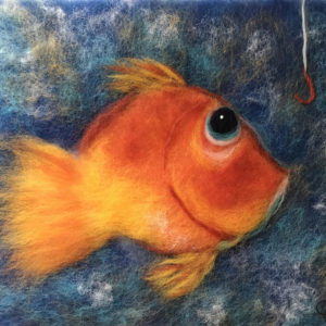 "Wool Painting ""Gold Fish"" by Oksana Ball"