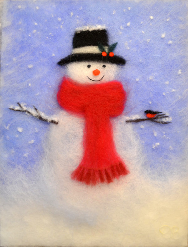 "Wool Painting ""Snowman"" by Oksana Ball"