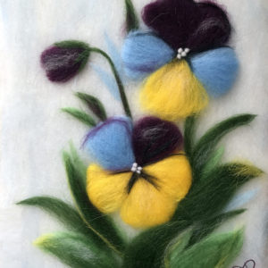 "Wool Painting ""Pansies"" by Oksana Ball"