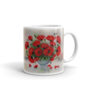 Ceramic Mug 11oz, Printed on both sides, Red poppies, Red Flowers, Bouquet of poppies, Bouquet of flowers, Still life