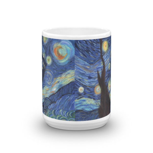 Ceramic Mug 15oz, Printed on both sides, Starry night, Van Gogh, Tardis, Doctor Who