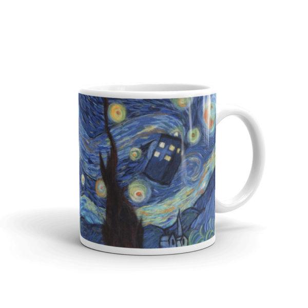 "Ceramic Coffee Mug ""Starry Night"", Van Gogh Mug, Tardis Mug, Doctor Who Mug"