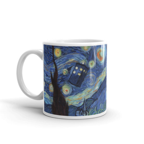 Ceramic Mug 11oz, Printed on both sides, Starry night, Van Gogh, Tardis, Doctor Who