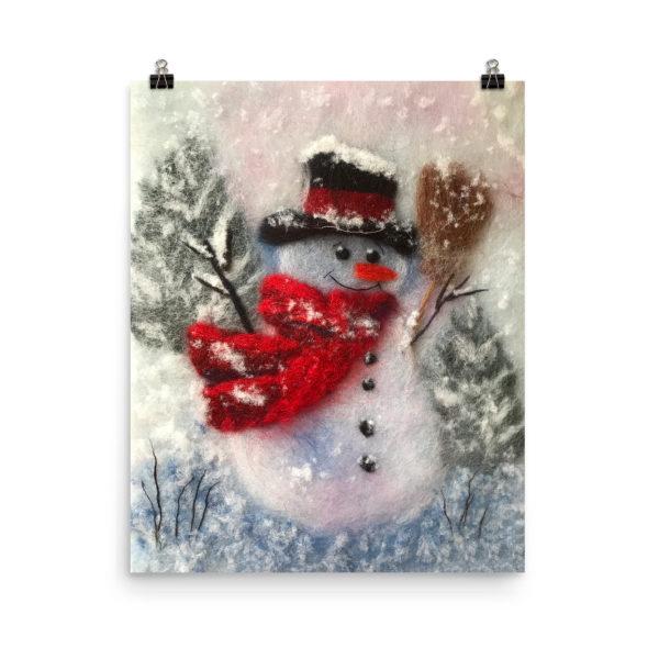 """Christmas Wall Art Print """"Snowman With A Broom"""""""