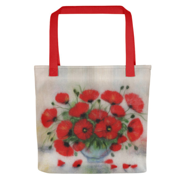 Everyday carry all foldable tote bag for women features bouquet of red poppies flowers in a glass vase