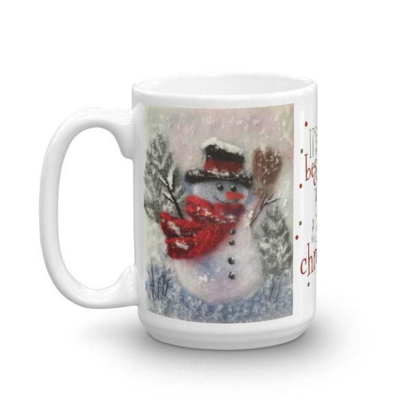 "Unique Ceramic Coffee Mug ""Snowman With A Broom"", Christmas Mug, Snowman Mug"