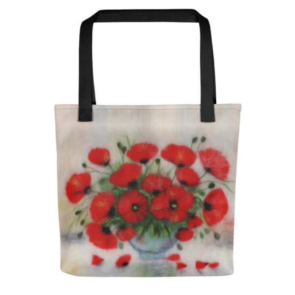 Foldable shopping tote bag for women features bouquet of red poppies flowers in a glass vase