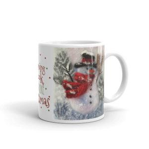 """Ceramic Coffee Mug """"Snowman With A Broom"""", Snowman Mug, Christmas Mug, Tea Cup"""