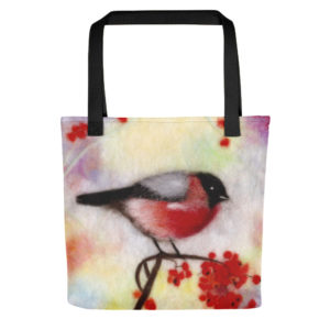 "Bird Tote Bag ""Colorful Bullfinch"", Reusable Grocery Shopping Tote Bag, Fabric Shoulder Bag"